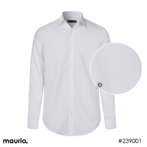 Maurio Dress Shirts_Self Pattern - white