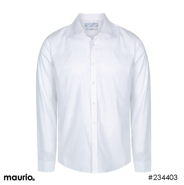 Long Sleeved Slim-Fit Sports Shirt - White
