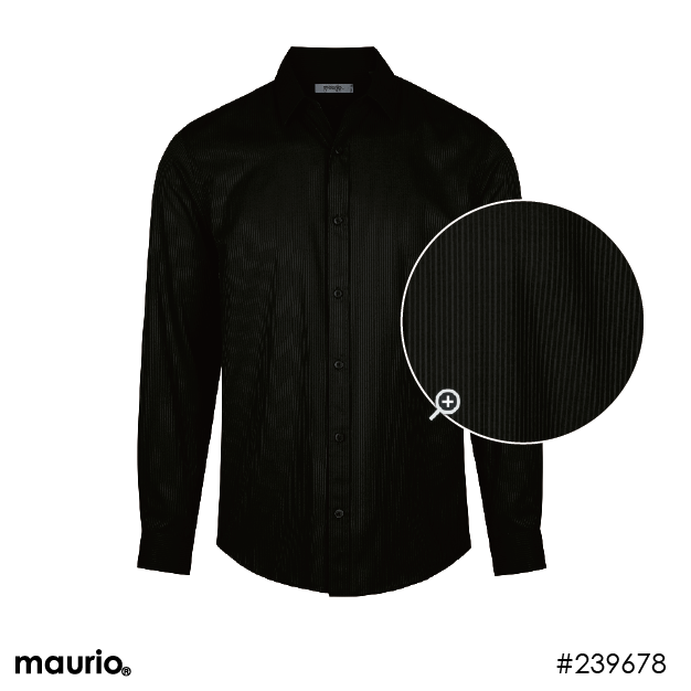 Maurio Dress Shirt - Self Stripe Black