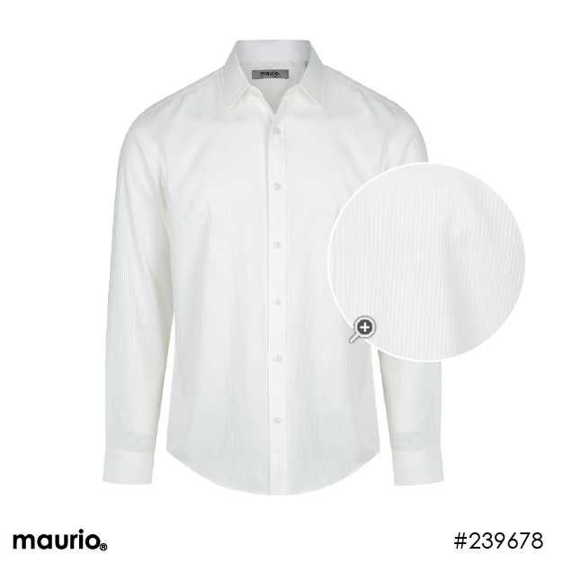 Maurio Dress Shirt - Self Stripe Off White