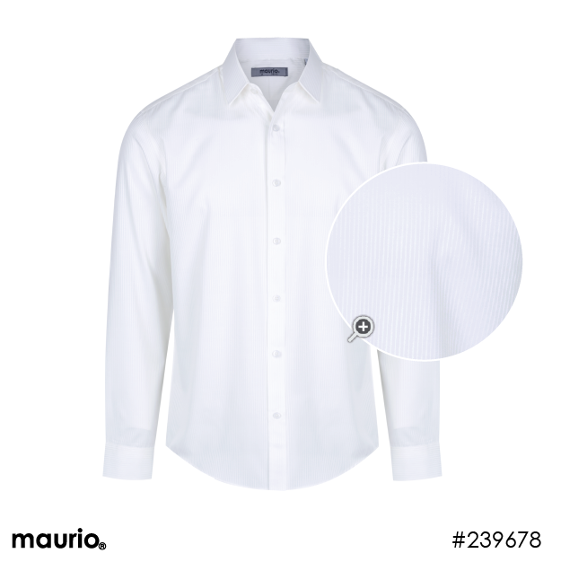 Maurio Dress Shirt - Self Stripe White